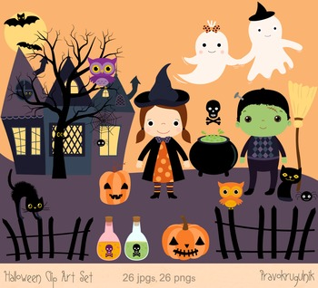 Cute Halloween Clipart Set, Haunted House Clip Art, Ghost