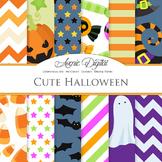 Cute Halloween Digital Papers - Pumpkin, bat, candy, ghosts scrapbook background