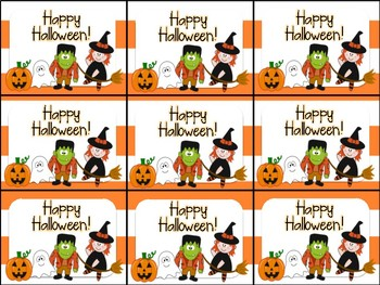 Cute Halloween Gift Tag (Witch, Frankenstein, Ghost, Jack-O-Lantern Characters)