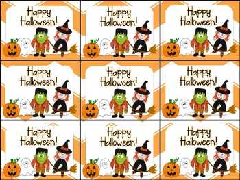 Halloween Gift Tags.Cute Halloween Gift Tag Witch Frankenstein Ghost Jack O Lantern Characters