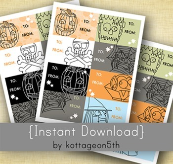 Cute Halloween Labels or Gift Tags - Holiday School Class Treats or Candy