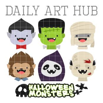 Cute Halloween Monster Heads Clip Art - Great for Art Class Projects!