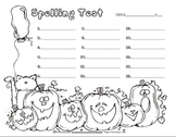 Cute Halloween Spelling Test Template Form Pack 12, 15, or 18 Words