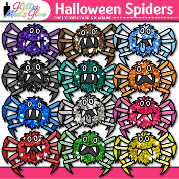 Halloween Spider Clip Art {Cute Bug and Critter Graphics for Science Resources}
