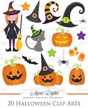 Cute Halloween Spooky clip art clipart Bat witch black cat hat pumpkin candy