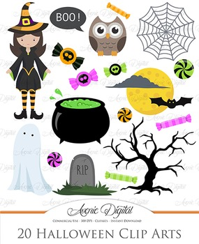 Cute Halloween Spooky clip art clipart Bat, witch owl, moon spooky tree, candy.