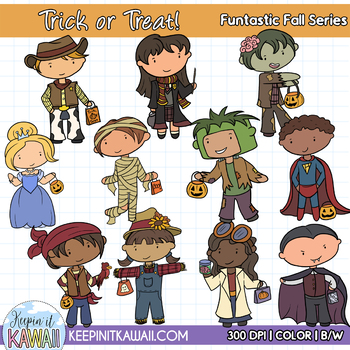 Cute Halloween Trick or Treat Kids Clip Art