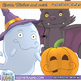 Cute Halloween Ghosts and Witches Clip Art