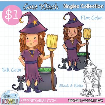 Cute Halloween Witch Clip Art - Singles Series