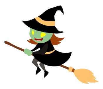 Cute Halloween Witch Color Clip Art #1