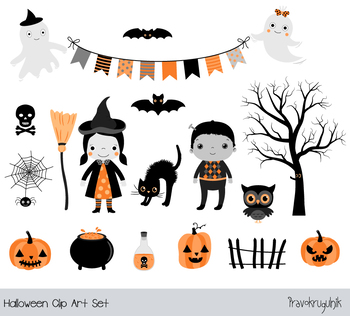 Cute Halloween clipart set, Kids clip art Halloween ghost, broom, witch, pumpkin