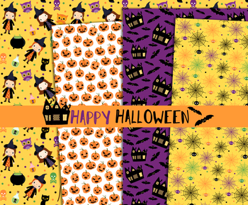 Cute Halloween digital paper pack, Seamless pattern background printable set