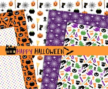 Cute Halloween digital paper pack, Seamless pattern background printable set