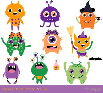 cute halloween monsters clipart silly ugly halloween animal rh teacherspayteachers com Halloween Witch Clip Art Syringe Clip Art