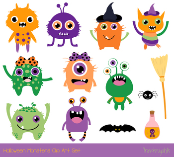 Cute Halloween monsters clipart, Silly ugly Halloween animal character alien