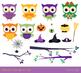 Cute Halloween owls clip art set, Orange purple owl with witch hat, bird, animal