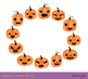Cute Halloween pumpkins clipart set, Spooky carved pumpkin face jack o lantern