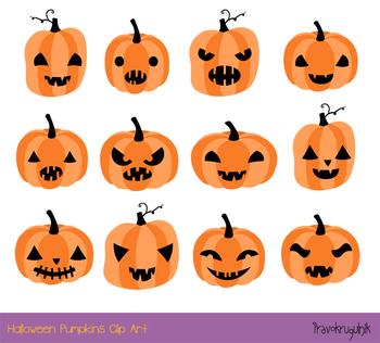 Cute Halloween Pumpkins Clipart Set Spooky Carved Pumpkin Face