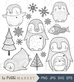 Cute Hand Drawn Penguin Clip Art, Commercial Use, Vector, Winter, Christmas