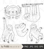 Cute Hand Drawn Sloth Clip Art Illustrations, Sloth Clipart, Cute Animal Clipart