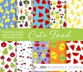 Cute Healthy Food Pattern Digital Paper, Fruit, Vegetables