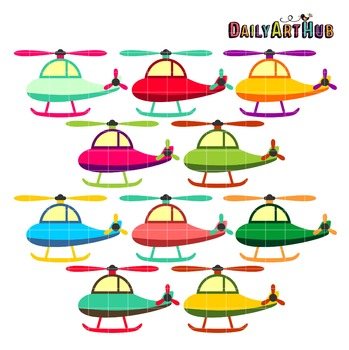 Cute Helicopters Clip Art - Great for Art Class Projects!