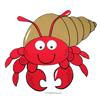 Cute Hermit Crab Craft with Template