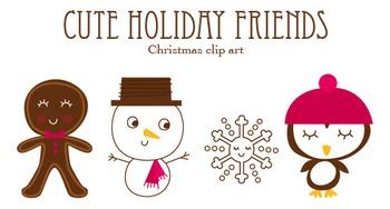 Cute Holiday Friends Christmas clip art