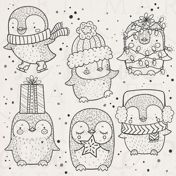 Cute Holiday Penguin Clip Art, Christmas Penguins, Christmas Clip Art, Vector