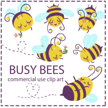 Separate Png and EPS Files Instant Download Commercial Use OK. High Resolution 300ppi Buzzy Bee Clip Art Set