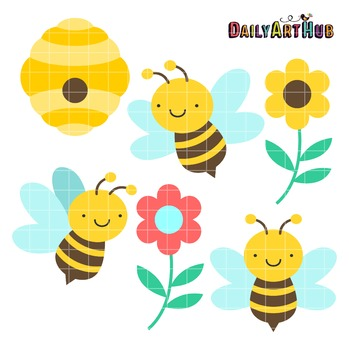 Cute Honey Bees Clip Art - Great for Art Class Projects!