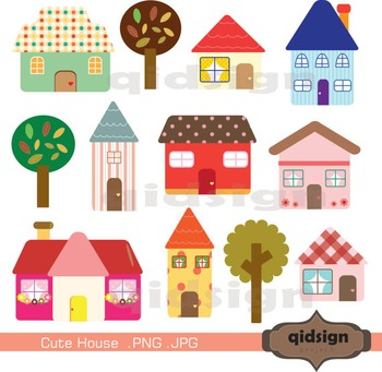 Cute House Clipart - Graphics - Commercial Use