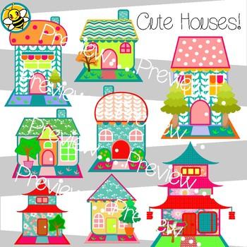 Cute Houses Clip Art