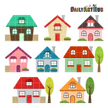 Cute Houses Clip Art - Great for Art Class Projects!