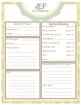 "Editable ""IEP At A Glance"" form (yellow/teal)"