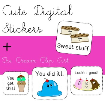 Cute Ice Cream Clip Art Images- High Quality PNG files - Commercial Use Okay