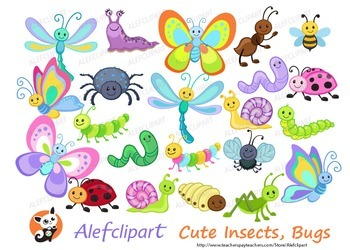 Cute Insects, Bugs and More! Digital Clipart.Instant Downl
