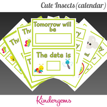 Cute Insects Classroom Calendar Instant Download PDF; Preschool, Kindergarten