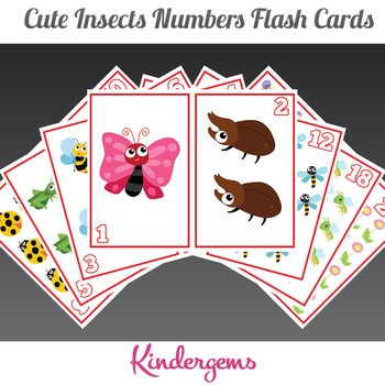 Cute Insects Numbers Flash Cards Instant Download PDF; Preschool, Kindergarten