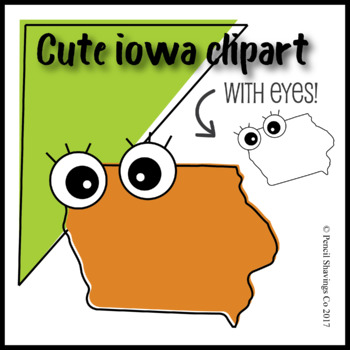 Cute Iowa Clipart with Eyes!