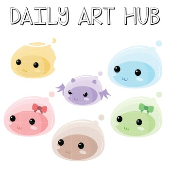 Cute Jelly Monsters Clip Art - Great for Art Class Projects! Make Adorable Masks
