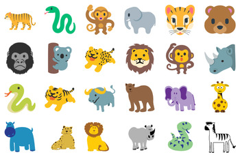 Cute Jungle Animals Clip Art - Vector SVGs - Tigers, Monkeys, Exotic Animals