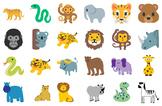 Cute Jungle Animals Clip Art - Vector SVGs - Tigers, Monke