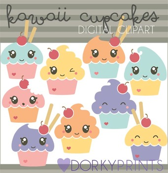 Cute Kawaii Cupcake Digital Clip Art Images