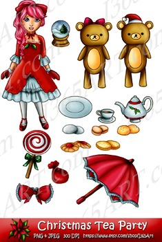 Cute Kawaii Pretty Christmas Holiday Doll Clipart Set 16 Digital Graphics