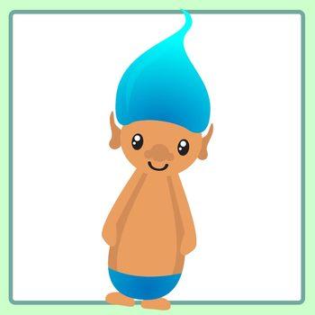 Cute Kawaii Rainbow Troll Characters Clip Art Set for Commercial Use