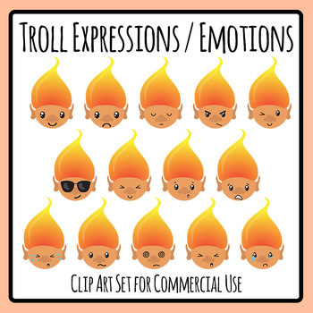 Cute Kawaii Troll Expressions and Emotions Characters Clip Art Set