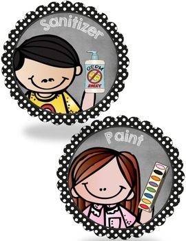 Cute Kidlette and Polka Dot School Supply Labels {Classroom Decor}