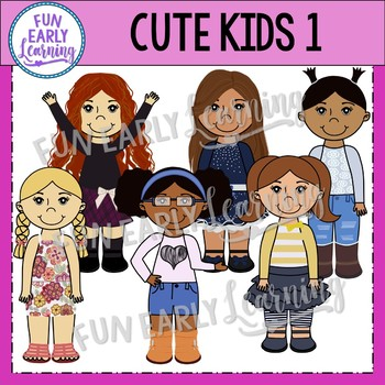 Cute Kids 1 Clipart {Pre-K Complete Clipart}