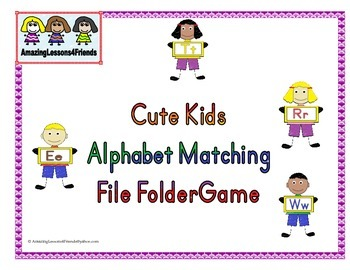 Cute Kids Alphabet matching File Folder Game